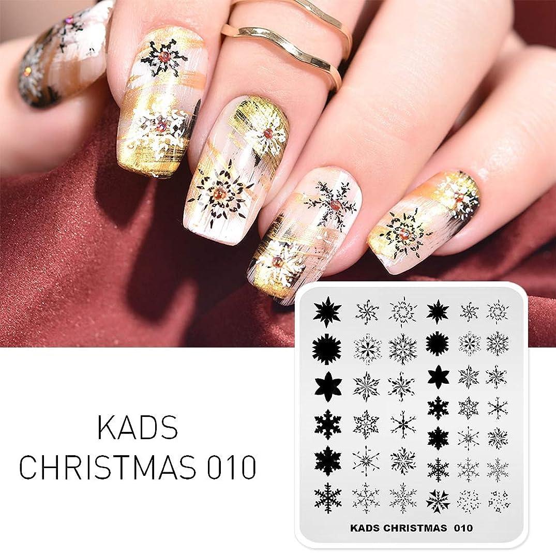 許可プライバシーリスクKADS クリスマスネイルアートスタンピングプレート ネイルイメージプレート 美しい雪花 ネイルアートツール(CH010)