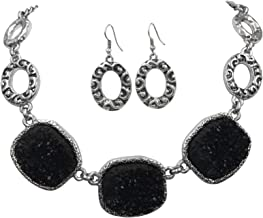 Gypsy Jewels Imitation Druzy Stone Abstract Ovals Swirls Boutique Style Necklace & Dangle Earrings Set - Assorted Colors