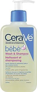 CeraVe Baby Wash & Shampoo Gentle Tear-Free Formula Fragrance Free, Paraben Free & Sulfate Free, 237 Milliliters