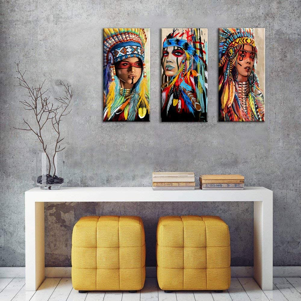 Native American Canvas Wall Art Indian Girl Chief Poster Indian Woman Girl  Colorful Feathered Prints for Bedroom Native Indian American Wall Decor ...