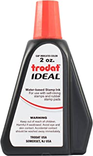 Trodat 53024 Ideal Premium Replacement Ink for Use with Most Self Inking and Rubber Stamp Pads, 2 oz, Red