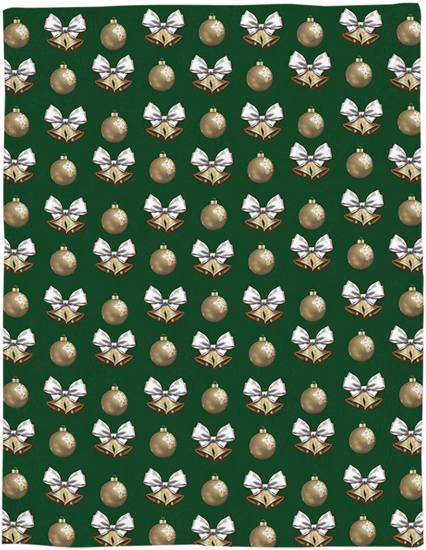 Flannel Fleece Bed Blanket 50x60 inch Merry Christmas Throw Blanket Lightweight Cozy Plush Blanket for Bedroom Living Rooms Sofa Couch  Xmas Balls golden Bells on Green Backdrop