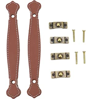 JETEHO 4 Pack Antique Leather Furniture Handle Trunk Pull Handle Luggage Handle Strap Replacement