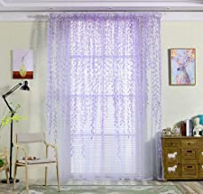 YJBear Purple Willow Leaf Transparent Polyester Sheer Curtain Panels for Bedroom Voile Window Drapes with Rod Pocket for Living Room Window Treatment Set for Wedding/Party 118