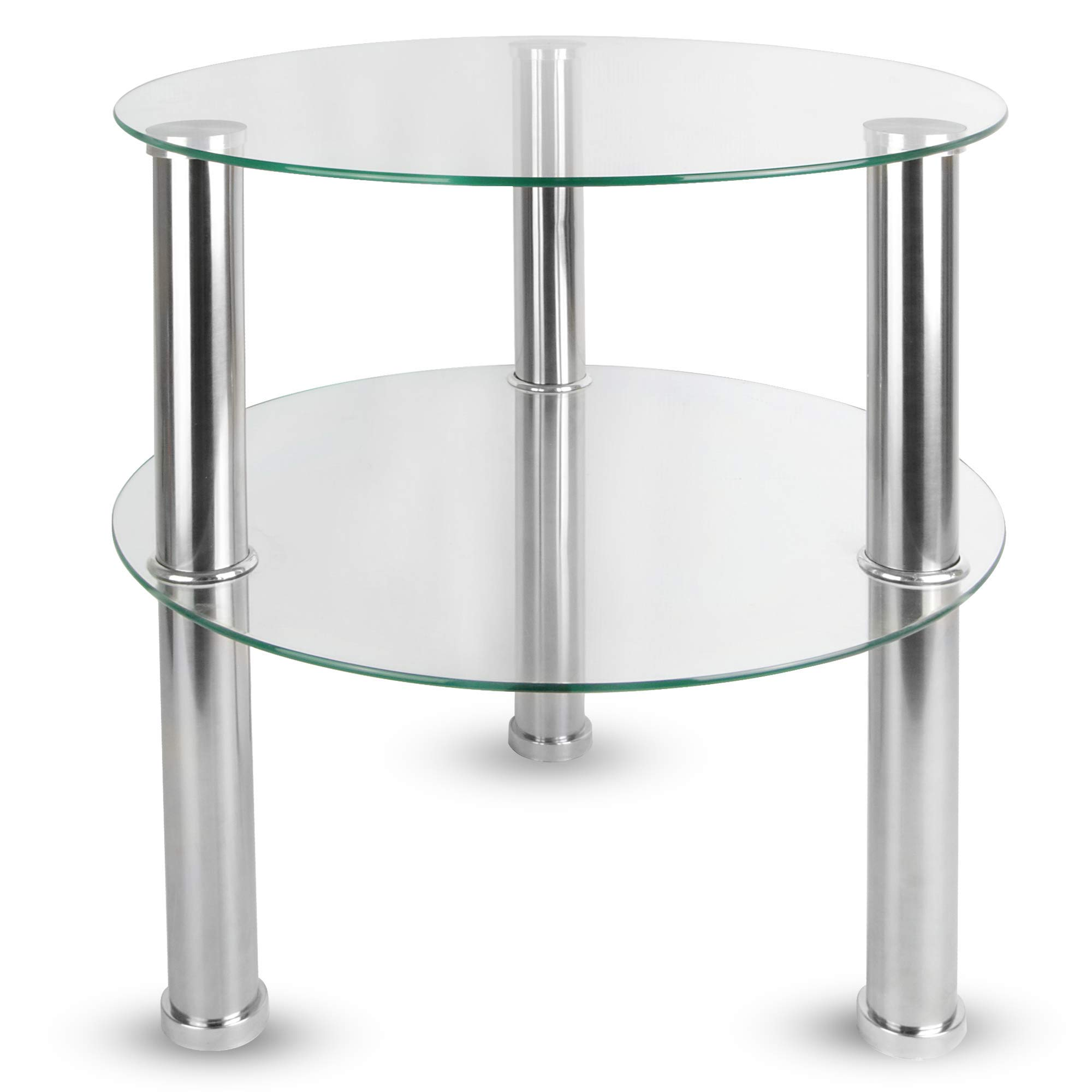 - Maison & White Small Round Glass 2 Tier Table Sofa Bed Side