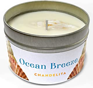 Chandelita Sea Breeze Scented Candle with Seashells and Natural Soy Wax to Meditate and Relax our Mind and Body enjoying a...