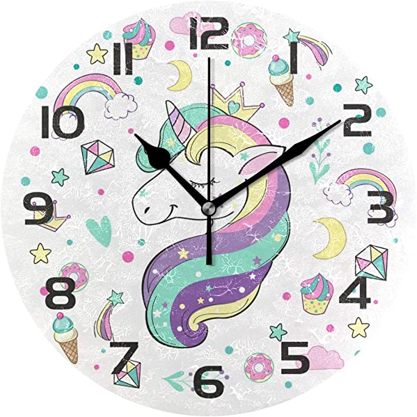 TropicalLife Cute Unicorn Rainbow Star Theme Decorative Wall Clock Acrylic Round Clocks Non Ticking Art Decor Bedroom Living Room Kitchen Bathroom Office School