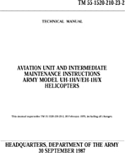 ARMY MODEL UH-1H V, EH-1H X HELICOPTERS Vol 2 AVIATION UNIT AND INTERMEDIATE MAINTENANCE INSTRUCTIONS CHAPTERS 7-17 (1987) TM 55-1520-210-23-2 [Loose Leaf Edition]