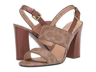 COACH Rylie Beadchain Heel Sandal (Tan/Saddle Signature Coated Canvas) Women
