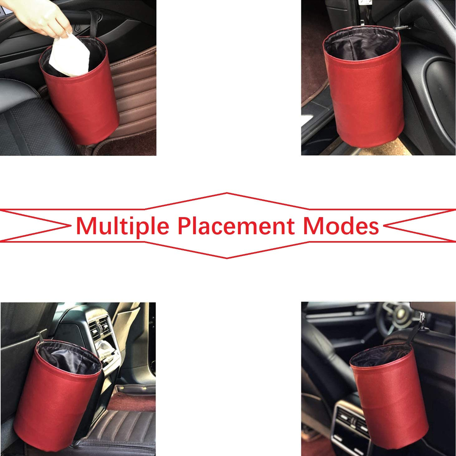 Portable Garbage Bin Storage Organizer Hanging Bag Use in Auto Home Office Universal Traveling Portable Car Garbage Can,Collapsible Pop-up Leather Water Proof Bag Car Trash Can Grey