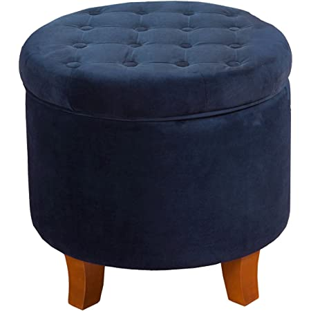 HomePop by Kinfine Fabric Upholstered Round Storage Ottoman - Velvet Button Tufted Ottoman with Removable Lid, Navy