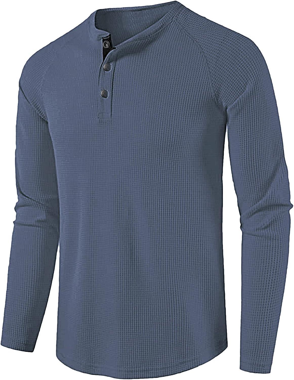 FUNEY Men's Fashion Casual Button Waffle Beefy Henley Shirts Basic Active Sports Raglan Long Sleeve Baseball T-Shirt Tops
