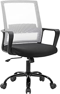 Computer Chair Office Chair Desk Chair Swivel Rolling Ergonomic Executive Lumbar Support Task Mesh Chair Adjustable Stool for Home Office, White