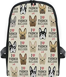 ZZXXB I Love French Bulldog Backpack Kids Toddler Child Preschool Kindergarten Waterproof Book Bags Travel Daypack for Boys and Girls