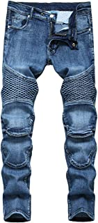 YOUTHUP Mens Biker Jeans Stretch Ripped Denim Trousers Straight Leg Jeans Cargo Pants All Waist Size