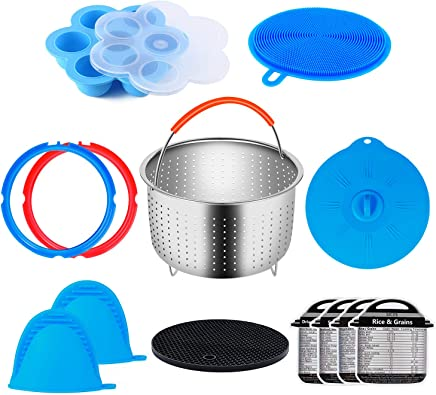 13 Pieces Accessories Set Compatible with Instant Pot 3 qt Steamer Basket,Egg Bites Mold,Sealing Rings,Silicone Lid,Magnetic Cheat Sheets,Silicone Scrubber & Trivet Mat,Oven Mitts