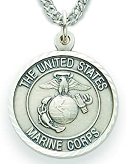 TrueFaithJewelry Sterling Silver United States Marine Corps Medal with Saint Michael Back, 3/4 Inch