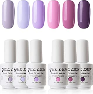 Gellen Soak Off UV LED Gel Nail Polish Set - Lavender Series 6 Colors Nail Gel Kit
