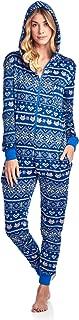Ashford & Brooks Women's Sweater Fleece Zip Up Hooded Jumpsuit One Piece Pajama