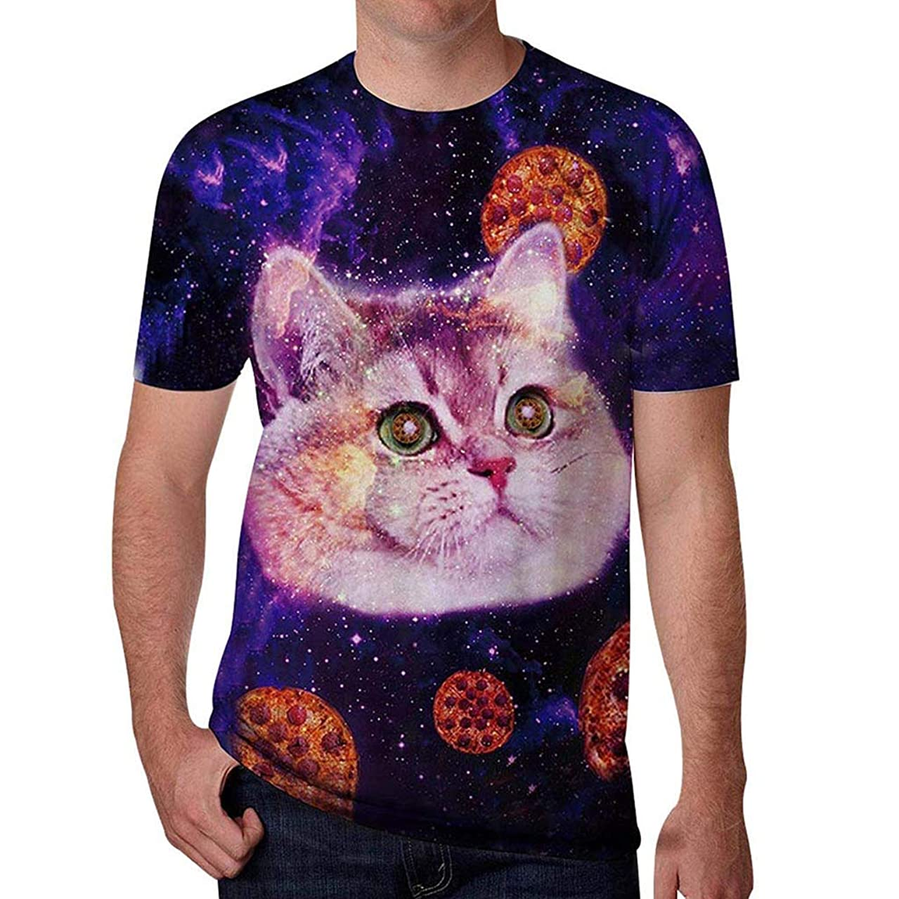 Xlala T-Shirts for Mens 3D Cartoon Kitten Printing Summer Round Neck Short Sleeve Casual Fashion Slim Fit Solid Color Tee Novelty Clothing