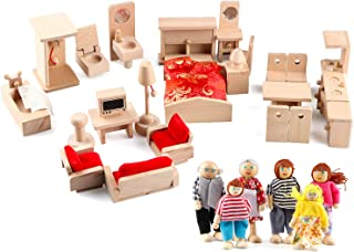 5 Set Dollhouse Furniture Accessories Wooden Bathroom/ Living Room/ Dining Room/ Bedroom/ Kitchen House Doll Decoration Pr...