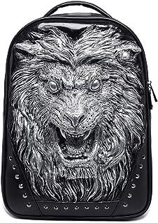 Men PU Leather Backpacks,Fashion Retro 3D Three-Dimensional Animal Lion Head Rivets Punk Rock School Bags Travel Bookbag,Silver
