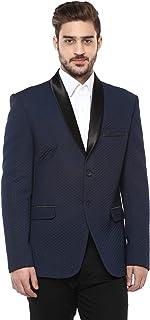 LUXURAZI Blue Knitted Self Textured Partywear Tuxedo Blazer