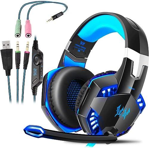 Auriculares Gaming con Microfono, Cascos Gaming, Auriculares para Juegos para PS4 / PC/Xbox One/Switch/Tableta/Celula...