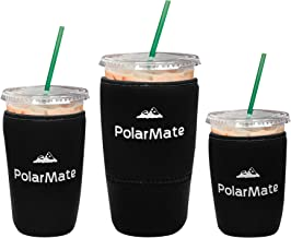 3 Pack Reusable Iced Coffee Sleeve   Insulator Cup Sleeve for Cold Drinks Beverages   Neoprene Cup Holder   Ideal for Starbucks, McDonalds, Dunkin Donuts & More (Black)