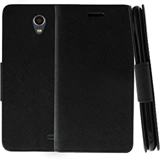TurtleArmor | Compatible with ZTE Prestige 2 Case | ZTE Maven 3 Case | ZTE Overture 3 Case | Protective Flip Leather Wallet Case Stand Cover with Card Slots - Black