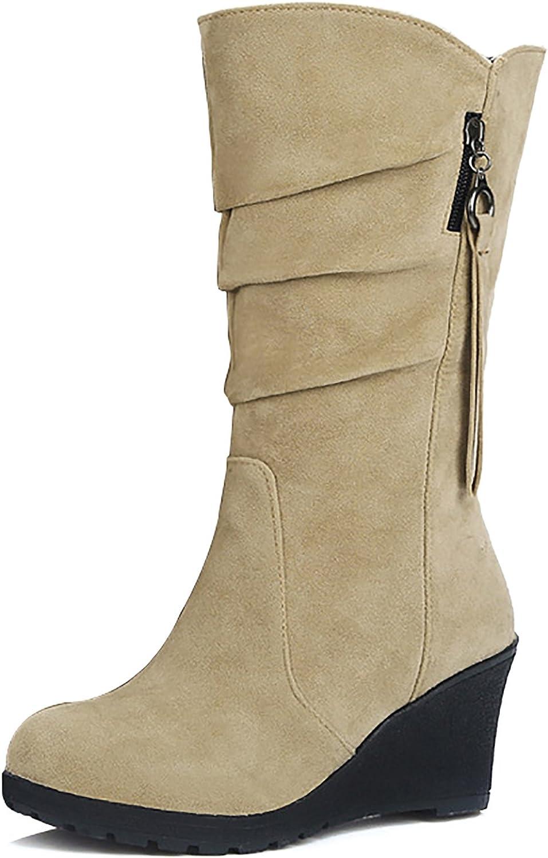 Odema Women's Wedge Heel Boots Slip On Mid Calf Slouch Bootie