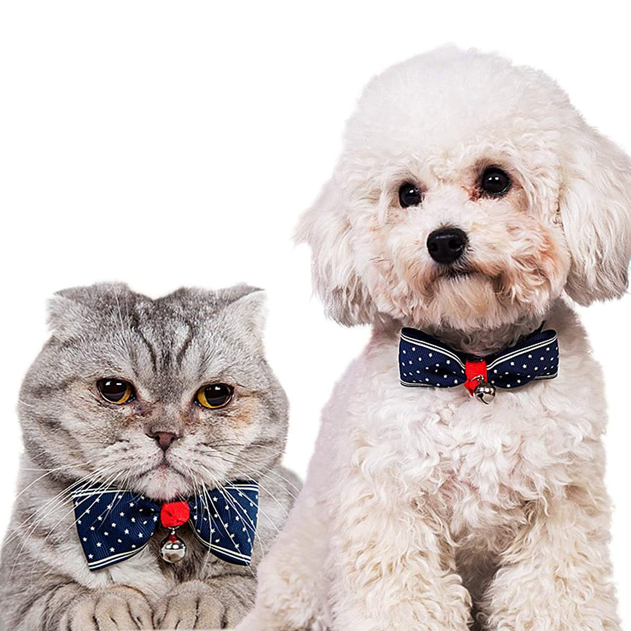 """Momo Pet Cat?Collar Cute Bowtie Gentlement?Breakaway Blue Cat Collar with Bell Safe & Durable for Cats and Small Dogs, for Wedding, Christmas Party, and Birthday, Adjustable 5.9""""-9.5"""""""