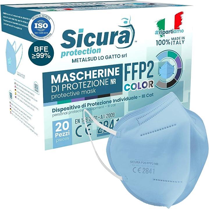 Mascherine ffp2 certificate ce italia colorate bfe ?99% made in italy- 20 pezzi - azzurre B08VRTBG6K