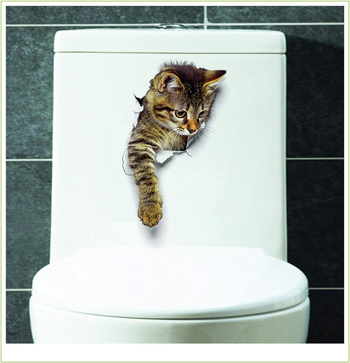 Wall 4 years warranty Stickers 3D store Cat Realistic Lid Toilet