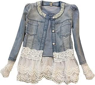 Jeans Jacket Women Slim Lace Patchwork Beading Denim Jackets Vintage Jackets Coat