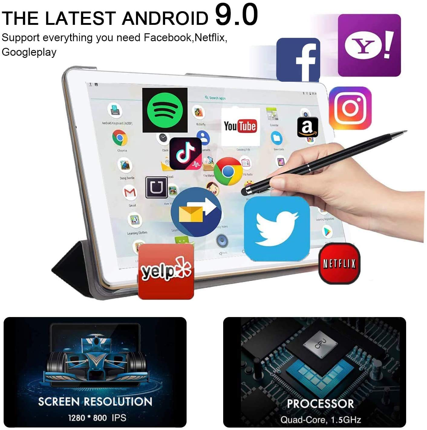 Tablet 10 Pulgadas barats 4G Full HD,4GB RAM+64GB ROM 128GB Escalables,Tableta 10
