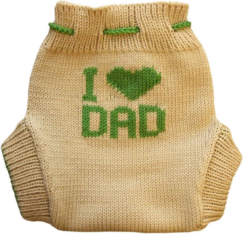 100/% merina es una tipo DE lana de fotos de beb/é cubierta de tejido de punto del madurador bolsa de pa/ñales de Beige-Green Talla:S