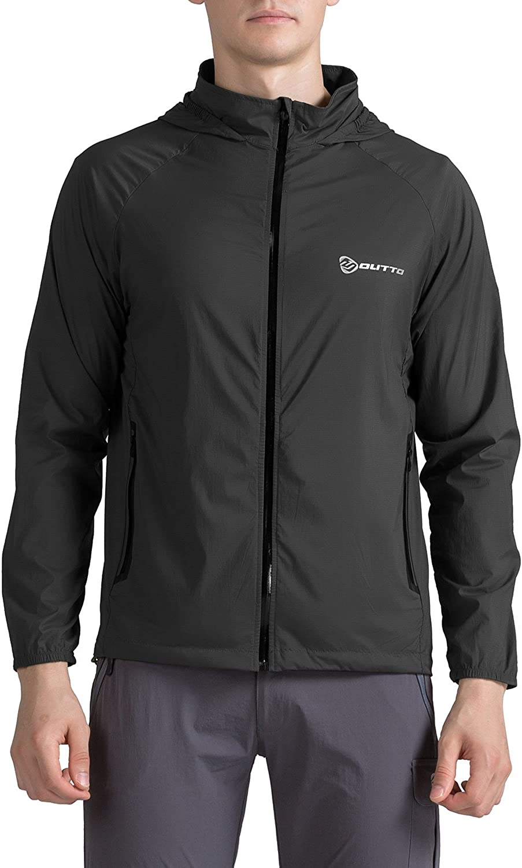 Outto Men's Outdoor Water Repellent Sun Predection Ultra Lightweight Windbreaker Jacket