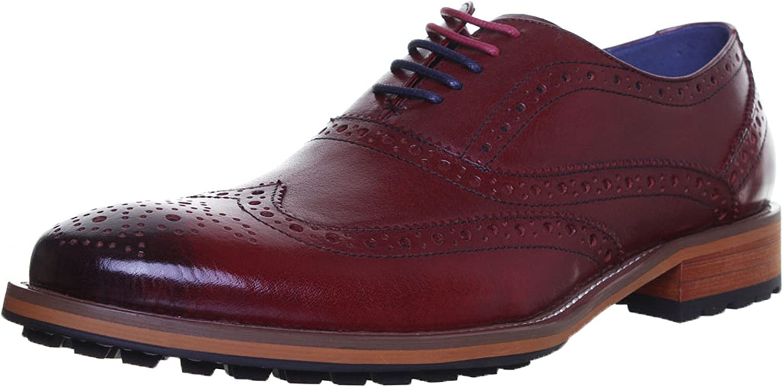 Justin Reece Oliver Mens Leather Matt shoes (10 UK, Wine JL25)