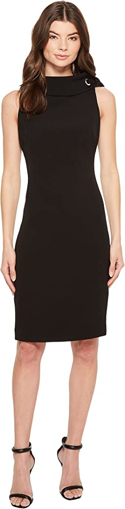 Badgley Mischka - Folded Collar Crepe Dress