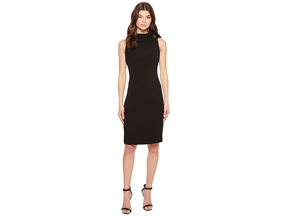 Badgley Mischka Folded Collar Crepe Dress (Black) Women