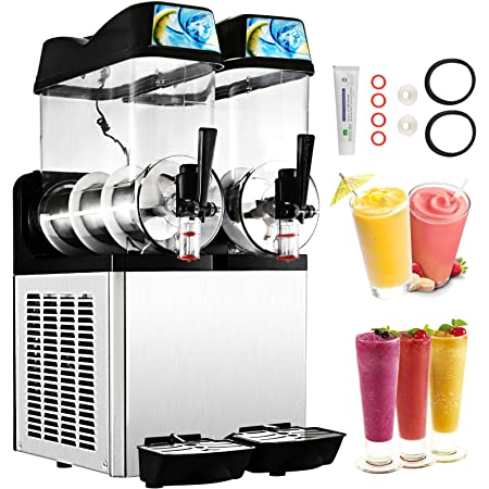 Happybuy 110V Commercial Slushy Machine 1600W 12L x 2 Tank Stainless Steel Margarita Smoothie Frozen Drink Maker Perfect for Ice Juice Tea Coffee Making, 24L, Sliver