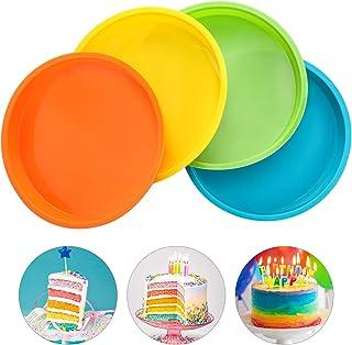 Aitsite 4Pcs Moule Gâteau Rond en Silicone 8 Pouces, Moule Rainbow Cake, Parfait pour Faire de délicieux gâteaux en Couche...