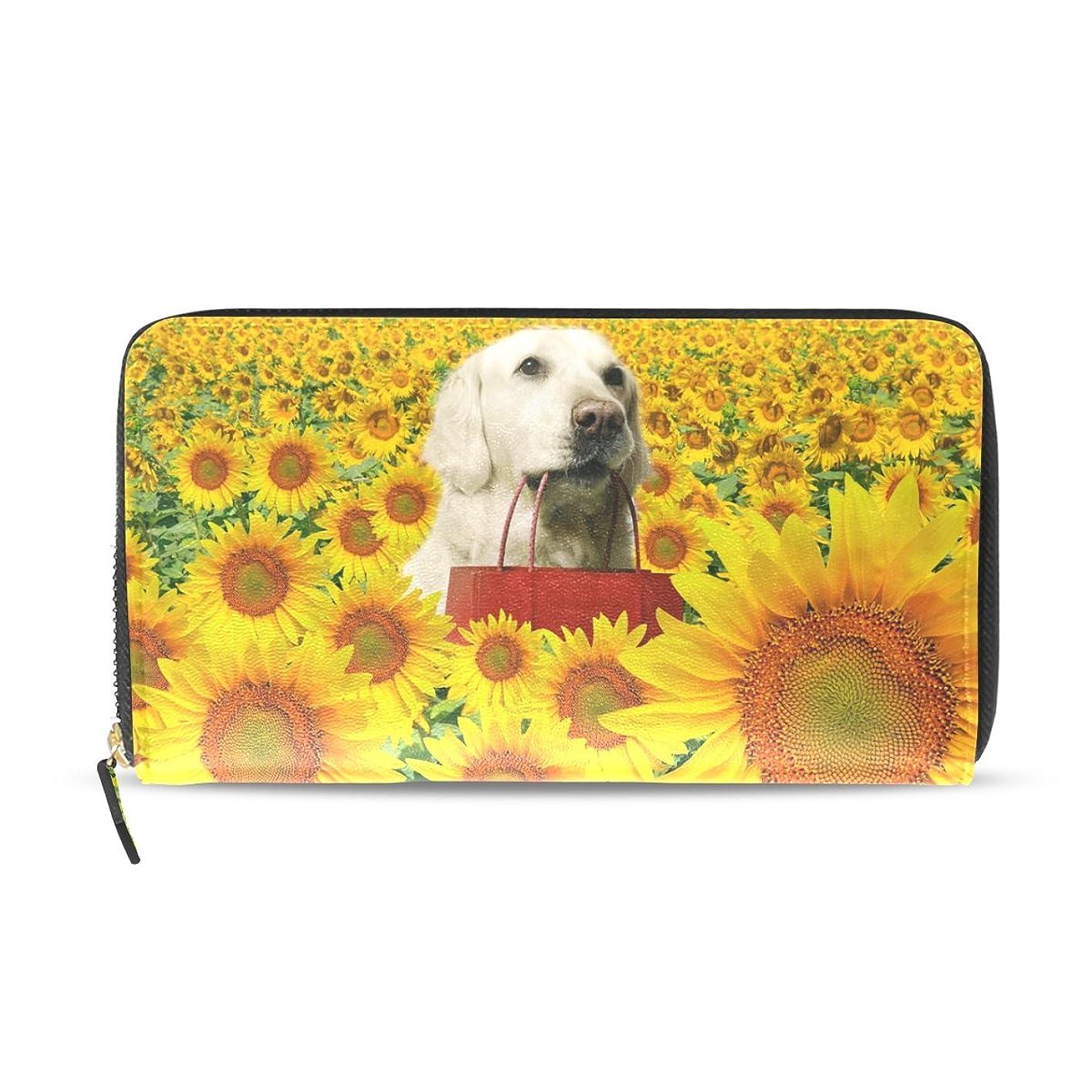 習熟度竜巻フォーラムAOMOKI 財布 レディース 長財布 大容量 PUレザー 幅20*丈11cm ひまわり 犬