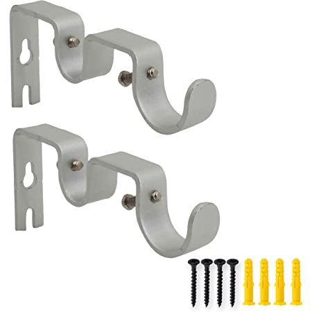 for 1/&5//8 3 Pack Silver OVOV Double Curtain Rod Brackets for Curtain Rod Heavy Duty Curtain Rod Holders