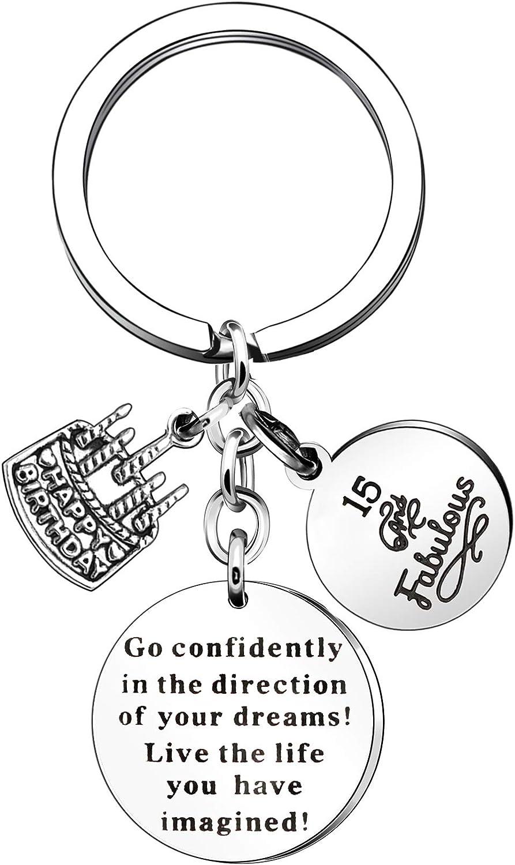 YONGHUI Inspirational Keychain Keyrings For 13th 14th 15th 16th 17th 18th 19th 20th 21st 22nd 23rd Birthday Gifts