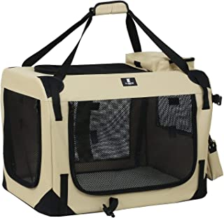 X-ZONE PET 3-Door Folding Soft Dog Crate, Indoor & Outdoor Pet Home, Multiple Sizes and Colors Available