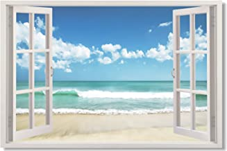 35.5x23.5 Window View Office Room Wall Decoration Outdoor Sky Lake Sandy Beach Sea Coconut Tree Modern Art(90x60cm) (29)