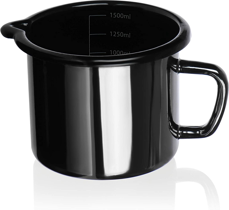 COM-FOUR® Olla para leche esmaltada - olla tradicional para leche y cacao - apto para todos tipo de lavavajillas - cazo