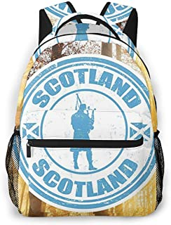 HUNANing Fashion Leisure Backpack for Girls and Boys, College Student School Laptop Daypack Teen Lightweight Casual Bookbags, High Capacity Travel Bag - Scotland Kilt Bagpipes
